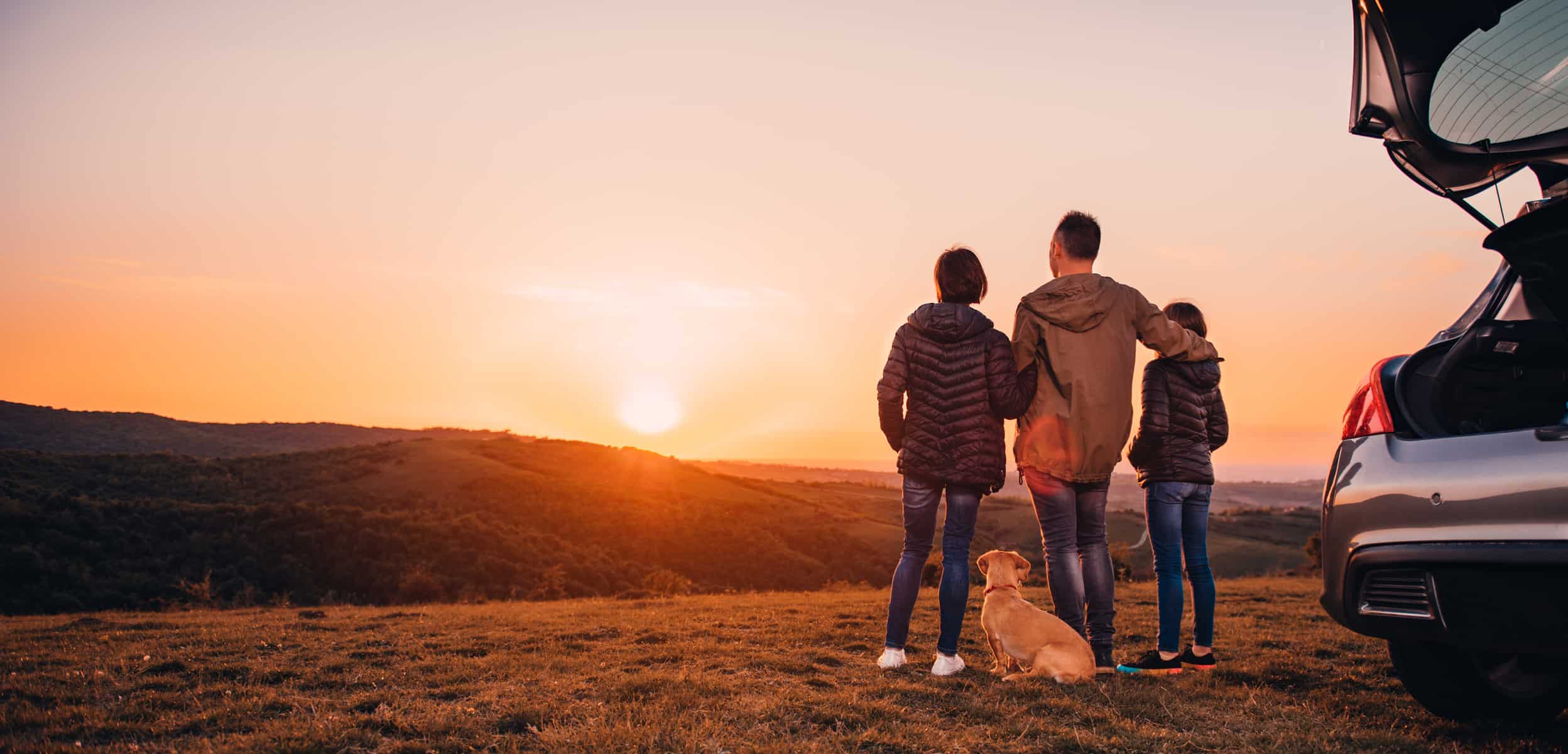 Family with dog embracing at hill and looking at sunset